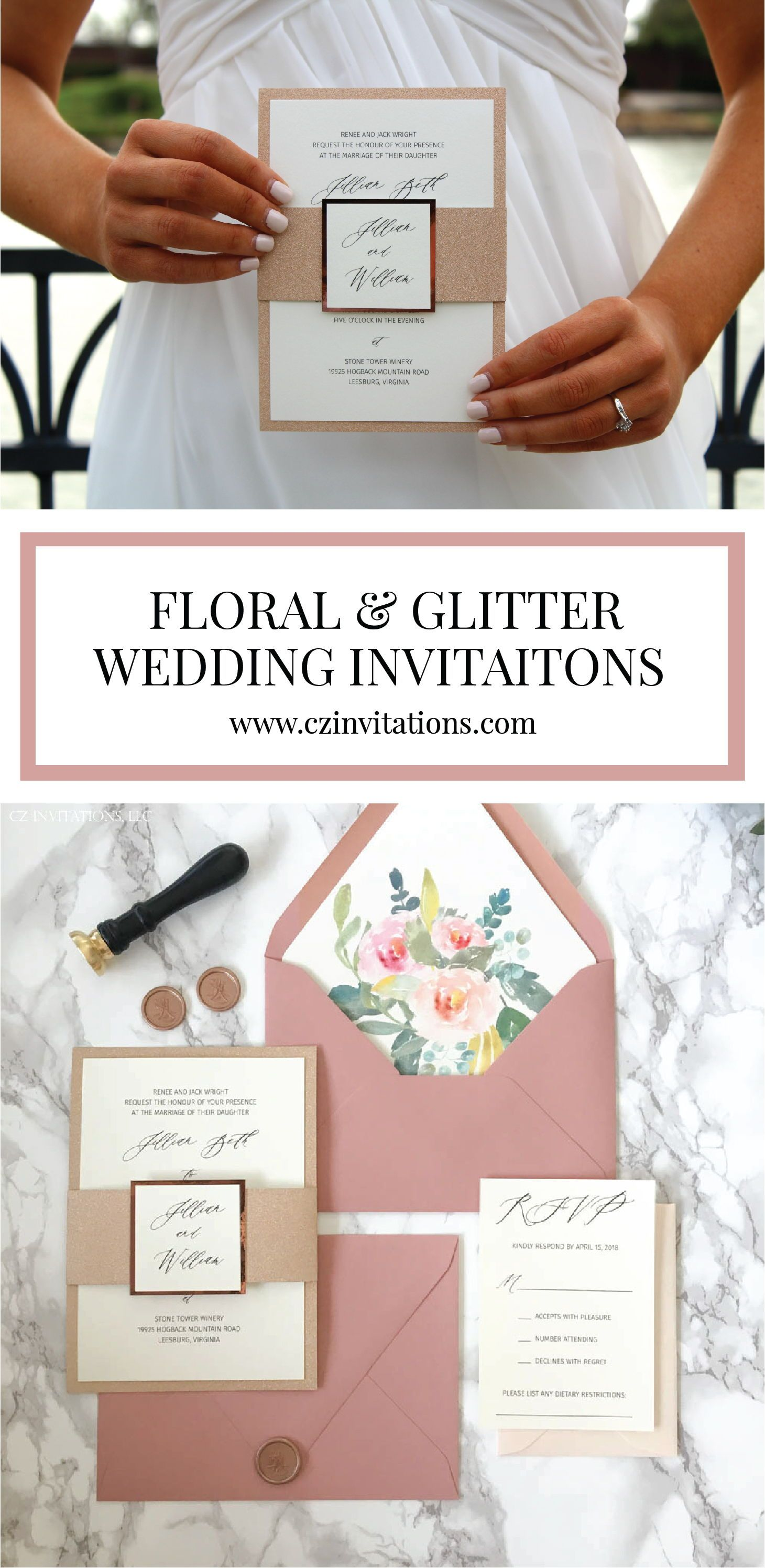 Dusty Pink And Rose Gold Glitter Floral Wedding Invitation Glitter