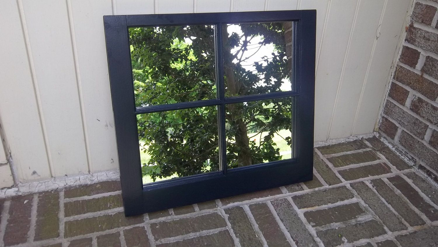 6 pane window frame ideas  vintage  pane window refinished in navy paint and mirror  navy