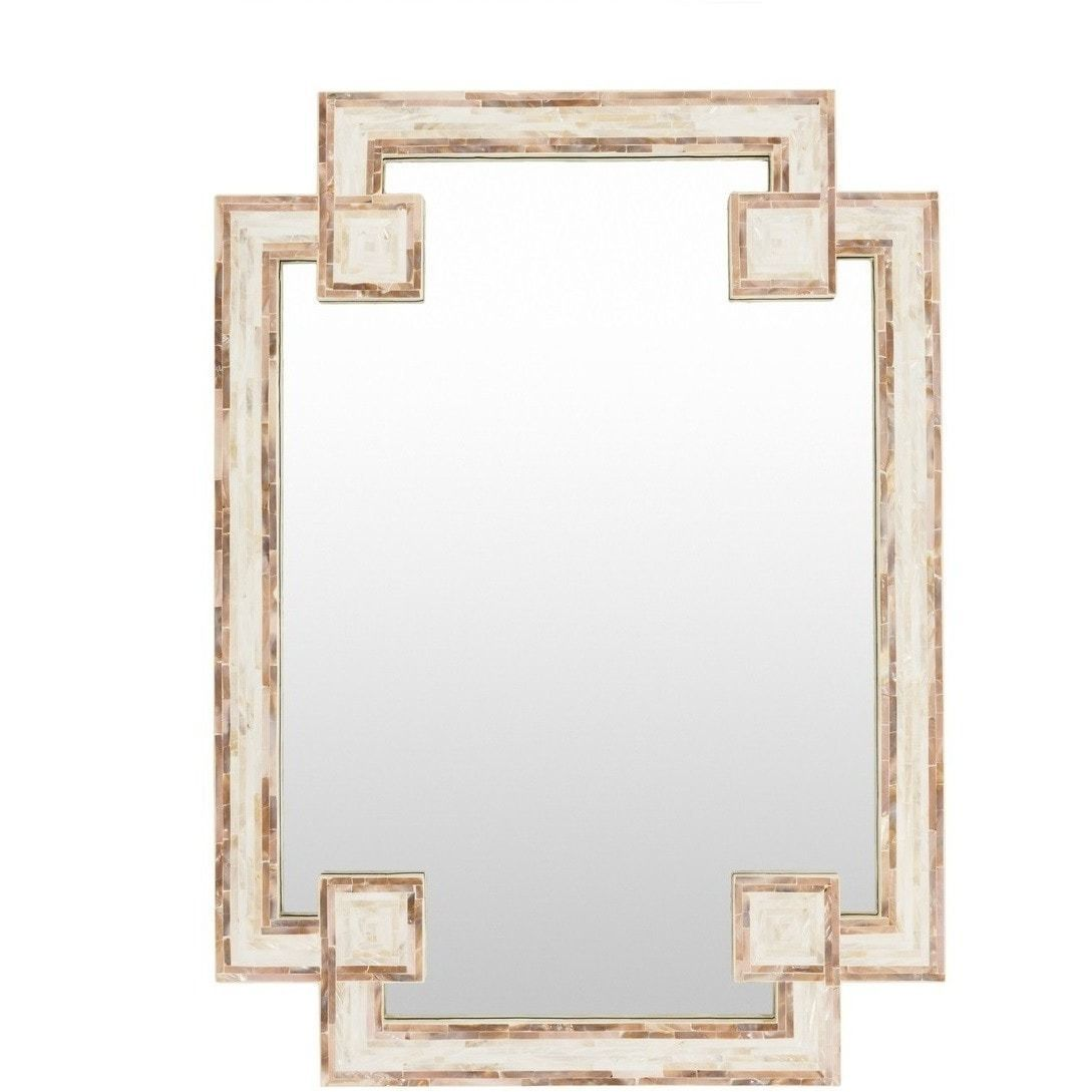 Greek key shell decorative mirror decorative mirrors shell our inlaid mother of pearl shell decorative mirror is stunning finished in a unique greek key jeuxipadfo Gallery