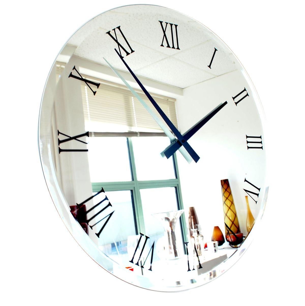 Amazing Extra Large Big Bevelled Roman Mirror Wall Clock, Buy Online UK Amazing Design