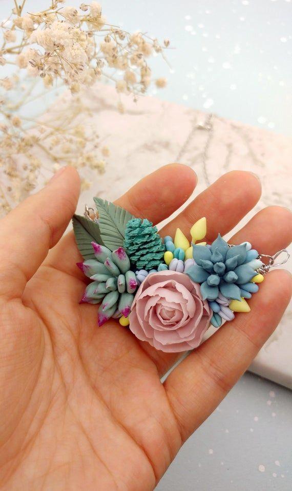 Photo of Succulent terrarium necklace. Unique flowers necklace. Succulent gift idea.