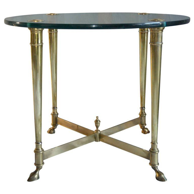 La Barge Classic Brass and Glass Top End Table Italy circa 1965 1