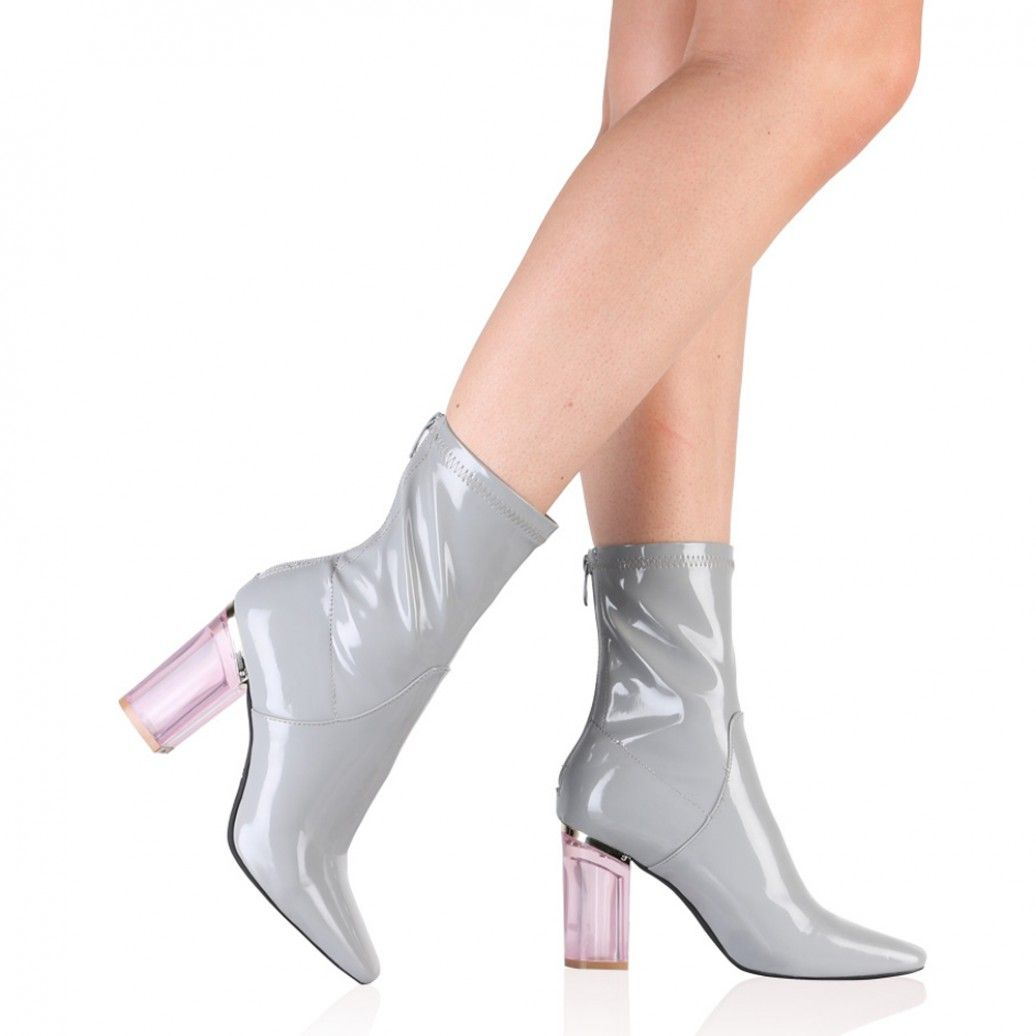Chloe Perspex Heeled Ankle Boots in Grey