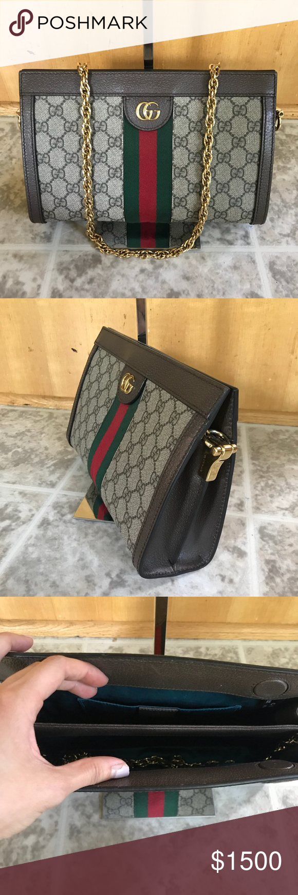 0a770a08c2376f GUCCI Ophidia Small GG Supreme Chain Shoulder Bag Authentic Gucci Linea  Dragoni Ophidia Small GG Supreme