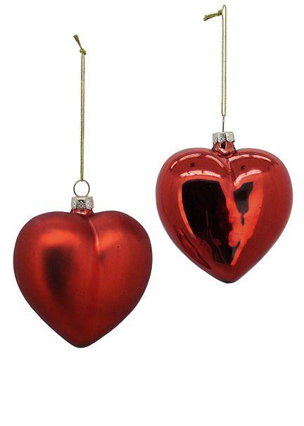 Shiny red matte glass heart christmas tree ornaments
