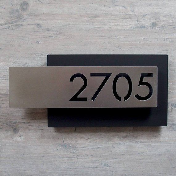 Modern House Numbers Custom Modern Layered Floating House Numbers Horizontal Offset In Stainless En 2020 Numeros De Casas Buzones De Correo Placa De Direccion