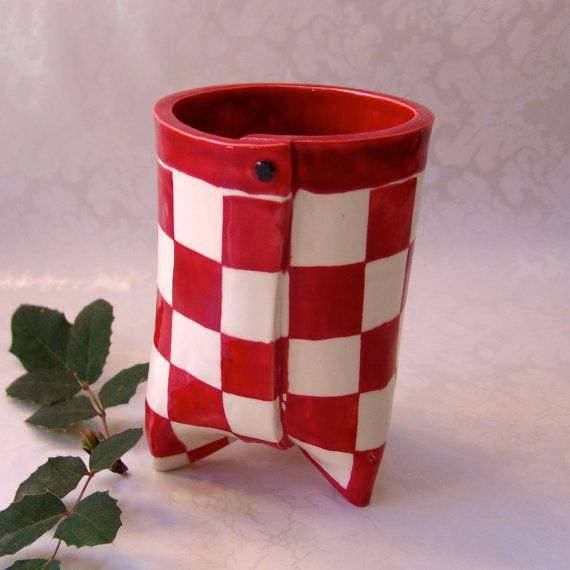 ceramic utensil holder  bright red & white gingham by maryjudy, $48.00