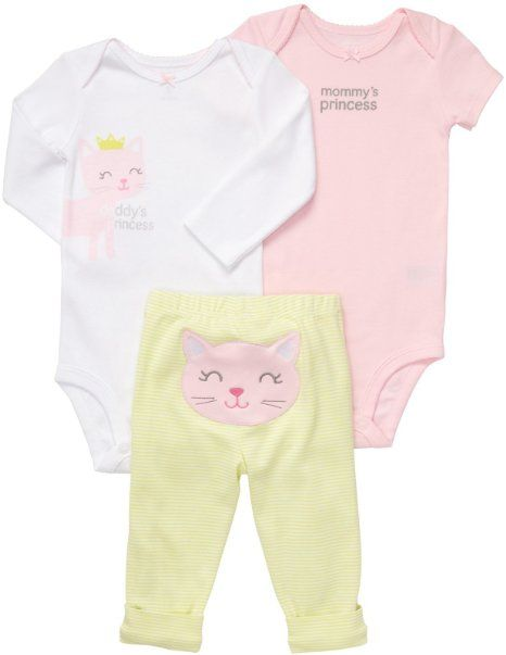 e48c97280 Amazon.com: Carters Baby Girls 3 Piece Pink Bodysuit Set Pink Heart:  Clothing