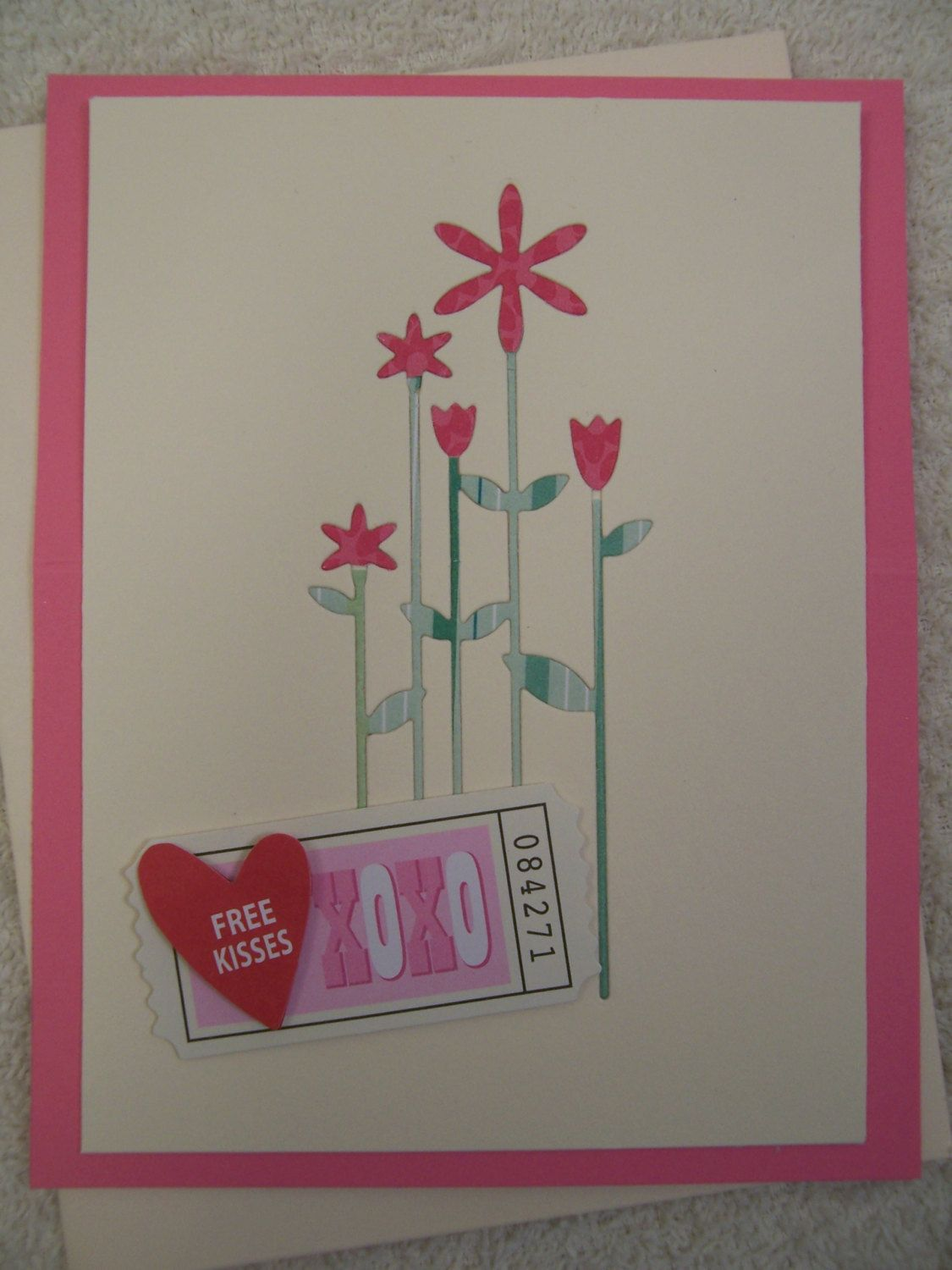Hugs kisses stand up greeting card hug kiss and flat rate handcrafted floral hugs kisses greeting card by stampdujouramr on etsy m4hsunfo