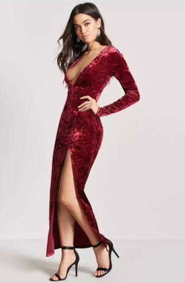 Cocktailkleid Lang Samtkleid mit tiefem V-Ausschnitt | Abiye Elbise ...