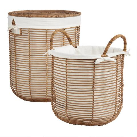 Natural Rattan Hayley Tote Basket With