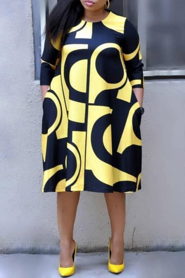 Retro Graphic Print Dress #afrikanischekleider