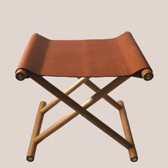 Handmade Tan Colored Folding Leather Stool In 2019
