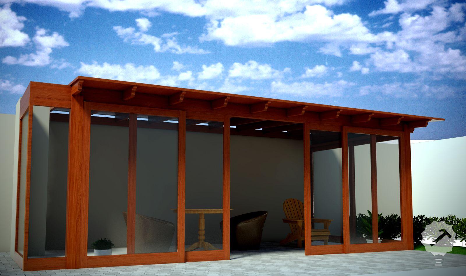 Techo terraza m s mamparas de vidrio con marco de madera for Disenos de terrazas de madera