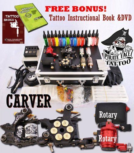 CARVER Tattoo Kit with 4 Machine Guns and Power Supplies   Tattoo ...
