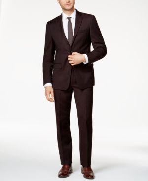 4f6c682935e Calvin Klein Men s Slim-Fit Burgundy Flannel Suit - Red 38S Traje De Los  Hombres
