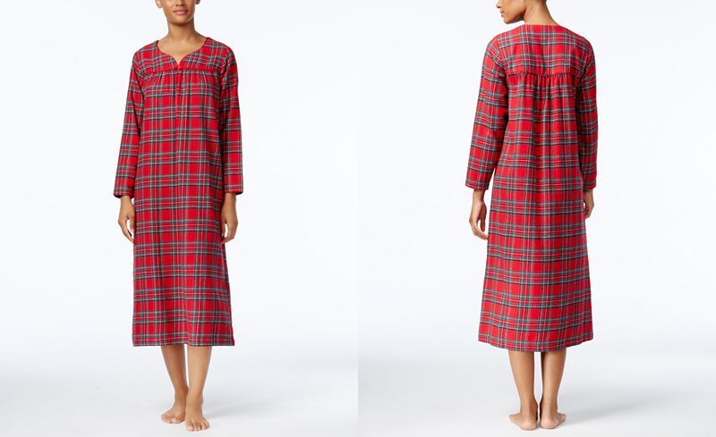 Charter Club Printed Flannel Nightgown, Only at Macy's - All Pajamas & Robes - Women - Macy's