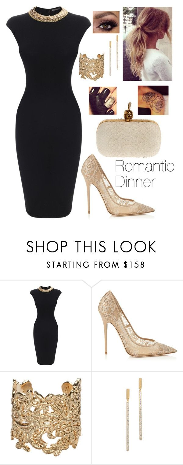 """""""Romantic Dinner With Your Boyfriend"""" by boiteasecrets ❤ liked on Polyvore featuring Alexander McQueen, Jimmy Choo, Bonnie Star and Elizabeth and James"""