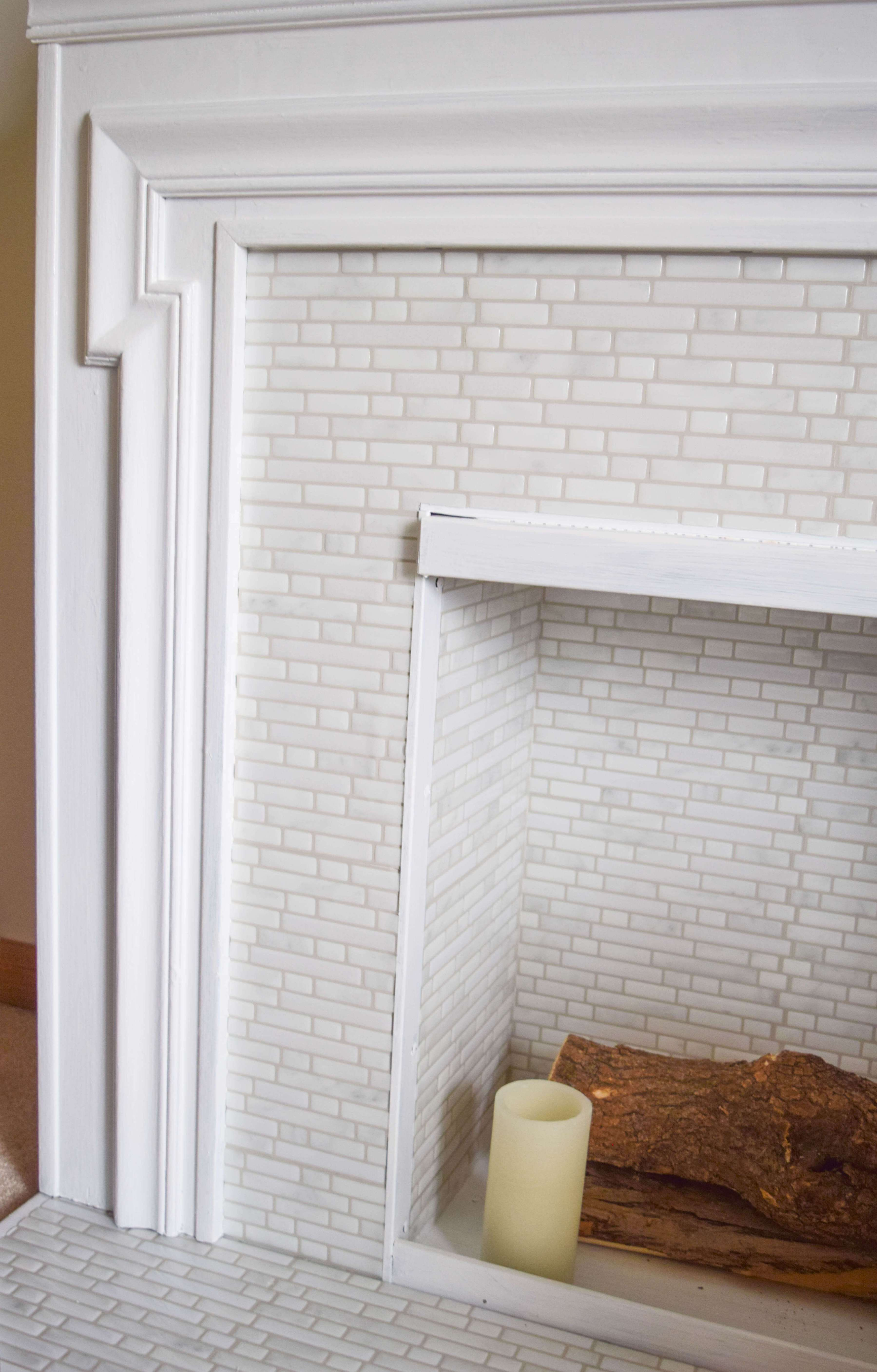 Easy Peel And Stick Tile Fireplace Surround Makeover Our House Now A Home Stick On Tiles Fireplace Tile Surround Diy Fireplace Makeover