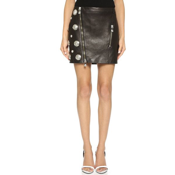 Versus Medusa Stud Leather Miniskirt ($950) ❤ liked on Polyvore ...