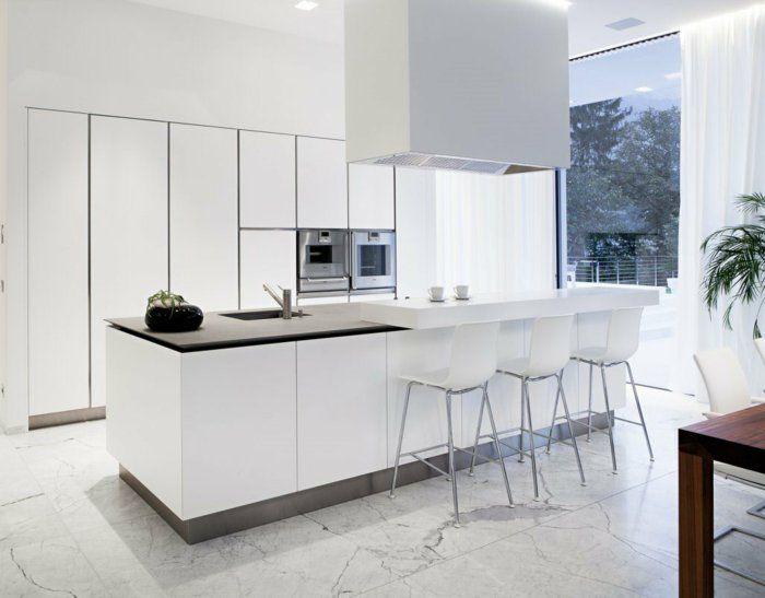 1-cuisines-blanches-avec-ilot-de-cuisine-central-carrelage-gris-et - cuisine avec ilot central et table