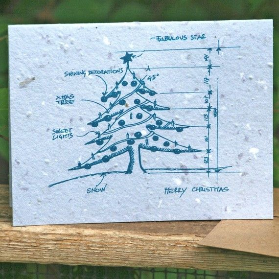 Plantable Christmas Tree.Plantable Christmas Tree Blueprint Card From Grace Graphics