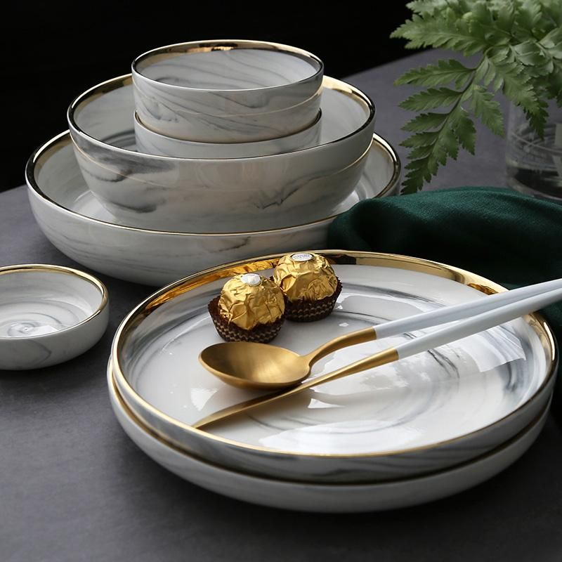 Toscana Marble And Gold Collection Dishware Sets Ceramic Dinnerware Kitchen Plates Set