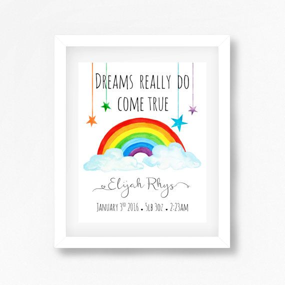 Look For Rainbows Nursery Print Baby Christening Wall Art Picture Poster