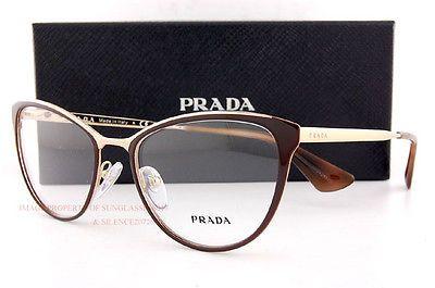 9bd933729fb1 Brand New Prada Eyeglass Frames 55TV CINEMA DHO 1O1 Brown/Gold for Women  Size 52