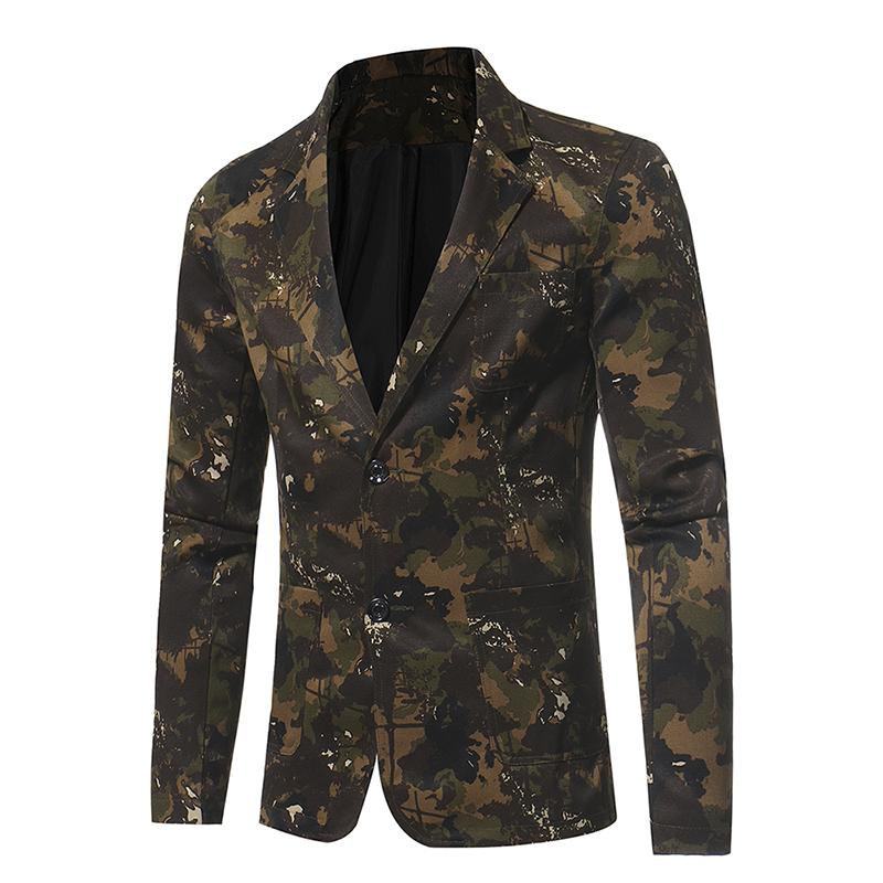 Men 2018 New Business Casual Suit Camouflage Series Slim Fit Suit Jacket  Wedding Groom Blazer