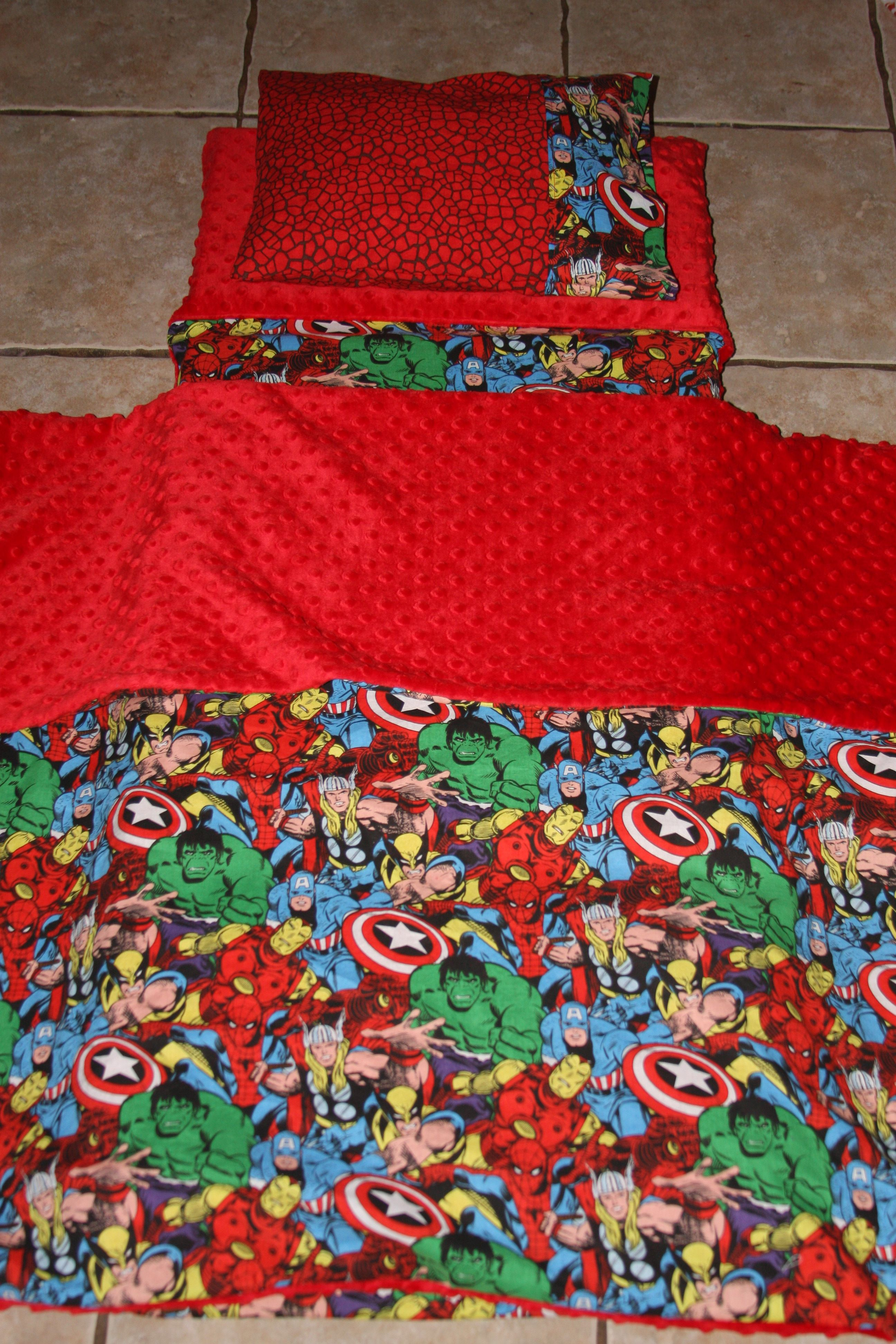 Super Hero nap mat cover, blanket, pillow and pillow case. Please