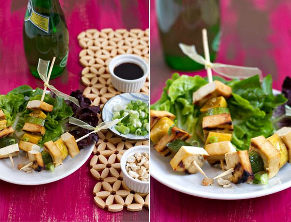 Grilled Tofu Skewers w/ summer squash