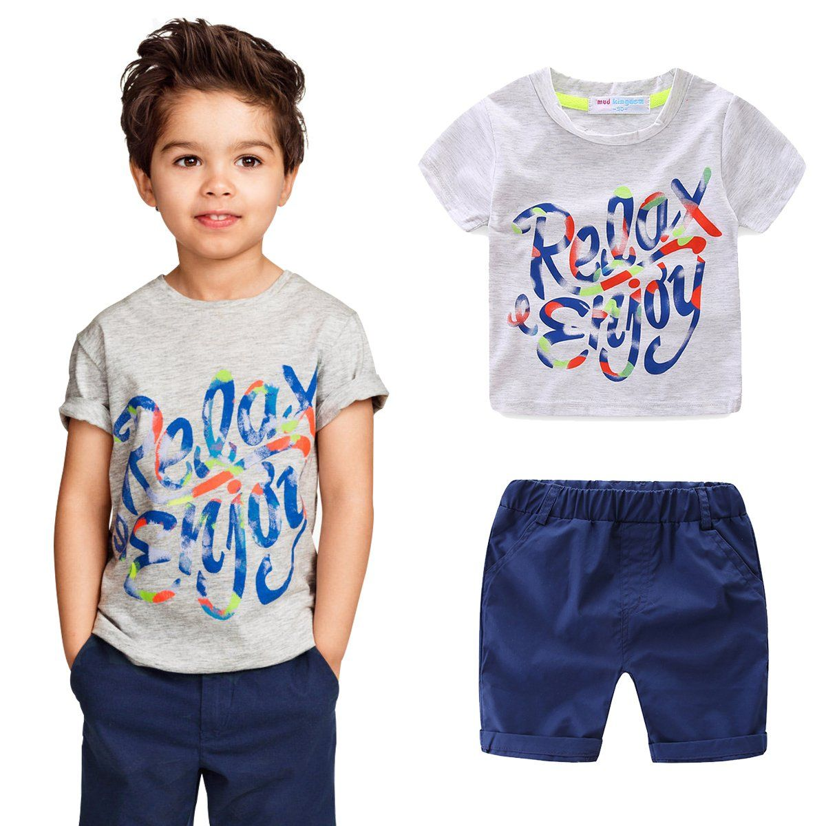 Mud Kingdom Little Boy Outfits Summer Holiday Enjoy Relax