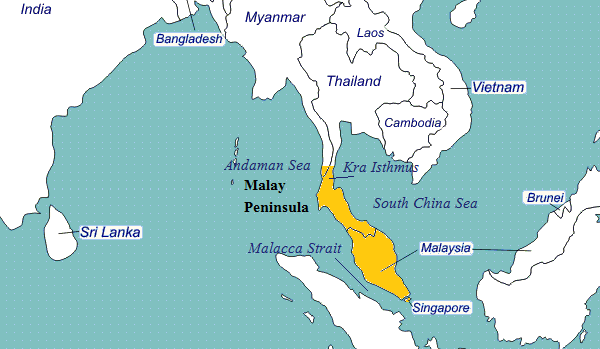 Malay Peninsula on World Map, Related Countries, Islands   QuickGS