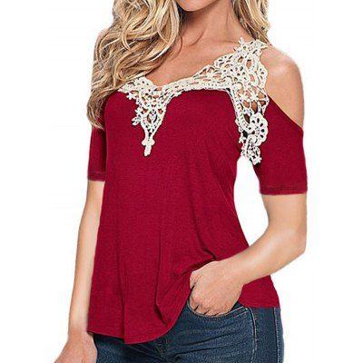 831f53a45e4d6c Women Cold Shoulder Lace Spliced T-shirt -  7.17 Free Shipping ...