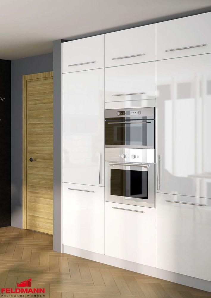 Küchenblock Küchenzeile Hochschränke 180cm Grau / Weiß Hochglanz Neu (PL 41)