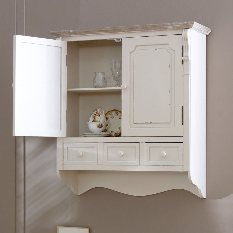 Country Cream Style Vintage Wall Cabinet Cupboard Storage Unit Home Furniture Shabby Chic Kitchen Wall Cupboards Cupboard Storage