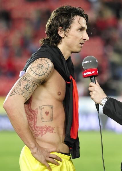Zlatan Ibrahimovic Tattoo Design For Good Luck An Ace Of
