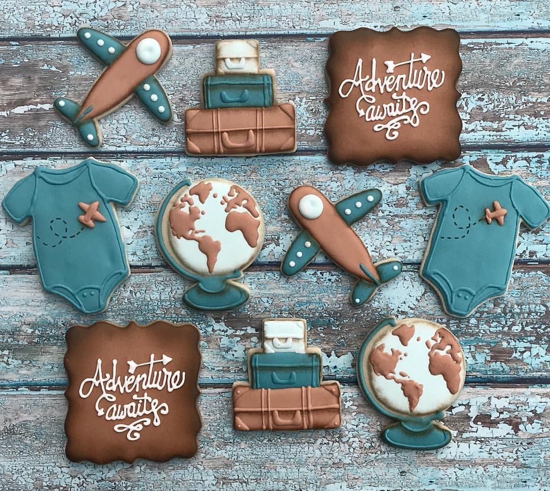 Adventure Awaits Baby Shower Cookies Boy Globe Suitcase Onesie Airplane Vintag Baby Shower Desserts Boy Adventure Awaits Baby Shower Baby Shower Desserts