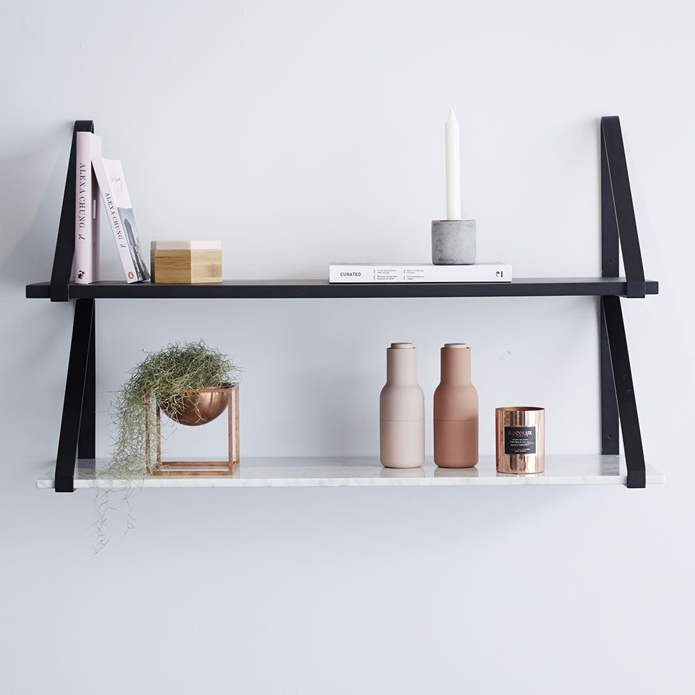Modern Designer Marble Floating Wall Shelf Carrara Marble Black Metal Shelving Decor Color Schemes Timber Shelves