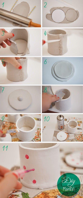 Mar Vi Creative Studio España Diy Bote Con Tapa Sencillo Pasta Para Modelar Manualidades Vasos Con Tapa