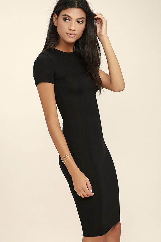 62e1cd323bc31 We're all thinking the Like Minded Black Bodycon Midi Dress belongs in our  closet! Soft, lightweight, ribbed stretch knit begins at a crew neckline,  ...