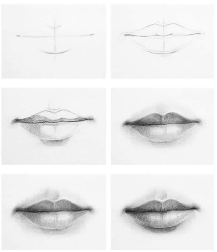 Front Mouth Lips Drawing Drawing People Drawings