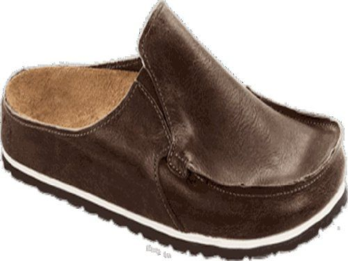 Cool Birkis Classic Skipper Mens Clogs Nubuck Leather, Rustic Dark Brown , With A Regular Insole