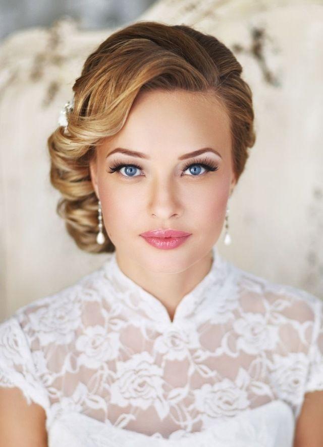 Brautschmuck haare mit schleier  Vintage Retro-Look Brautfrisur und Kleid-ideen | alles für die ...
