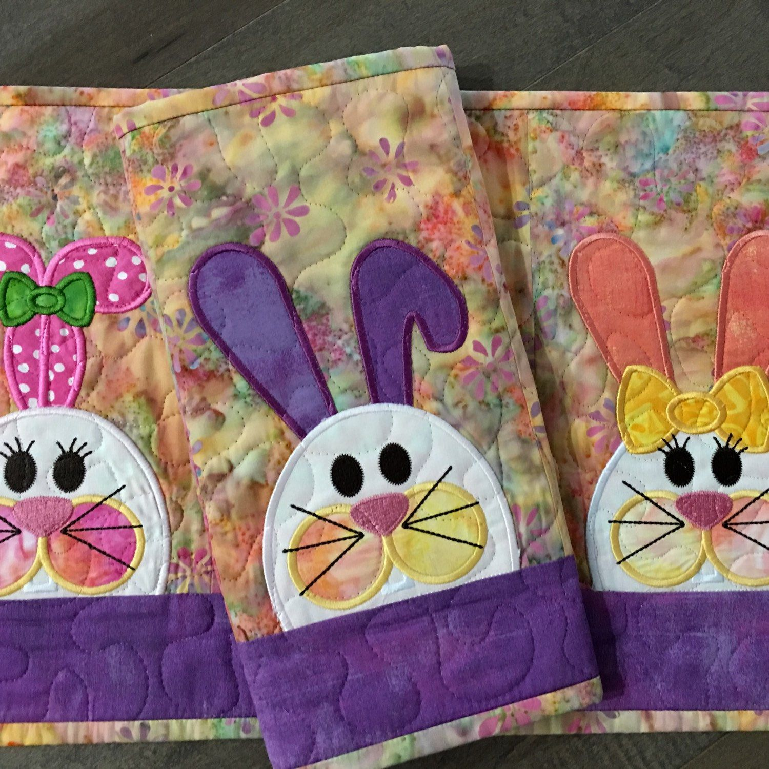Quilted Bunny Placemats Easter Placemats Fabric Postcards Sewing Machine Quilting