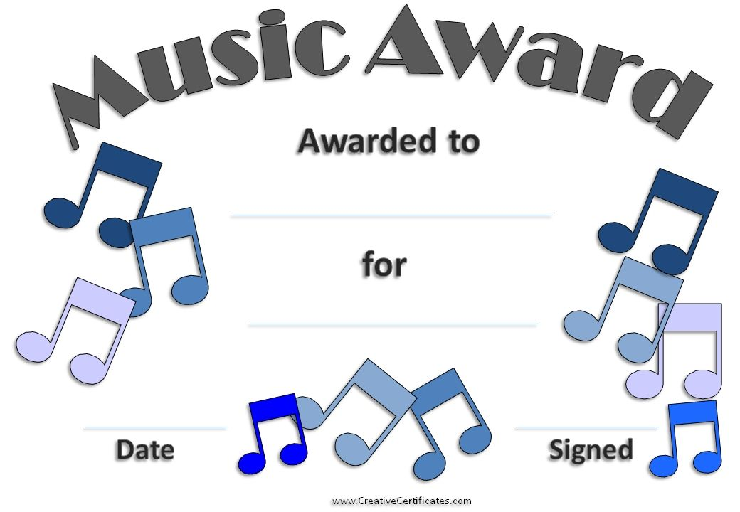 Printable award with a grey border and blue music clipart rock music certificate template free and customizable creative certificates yadclub Gallery