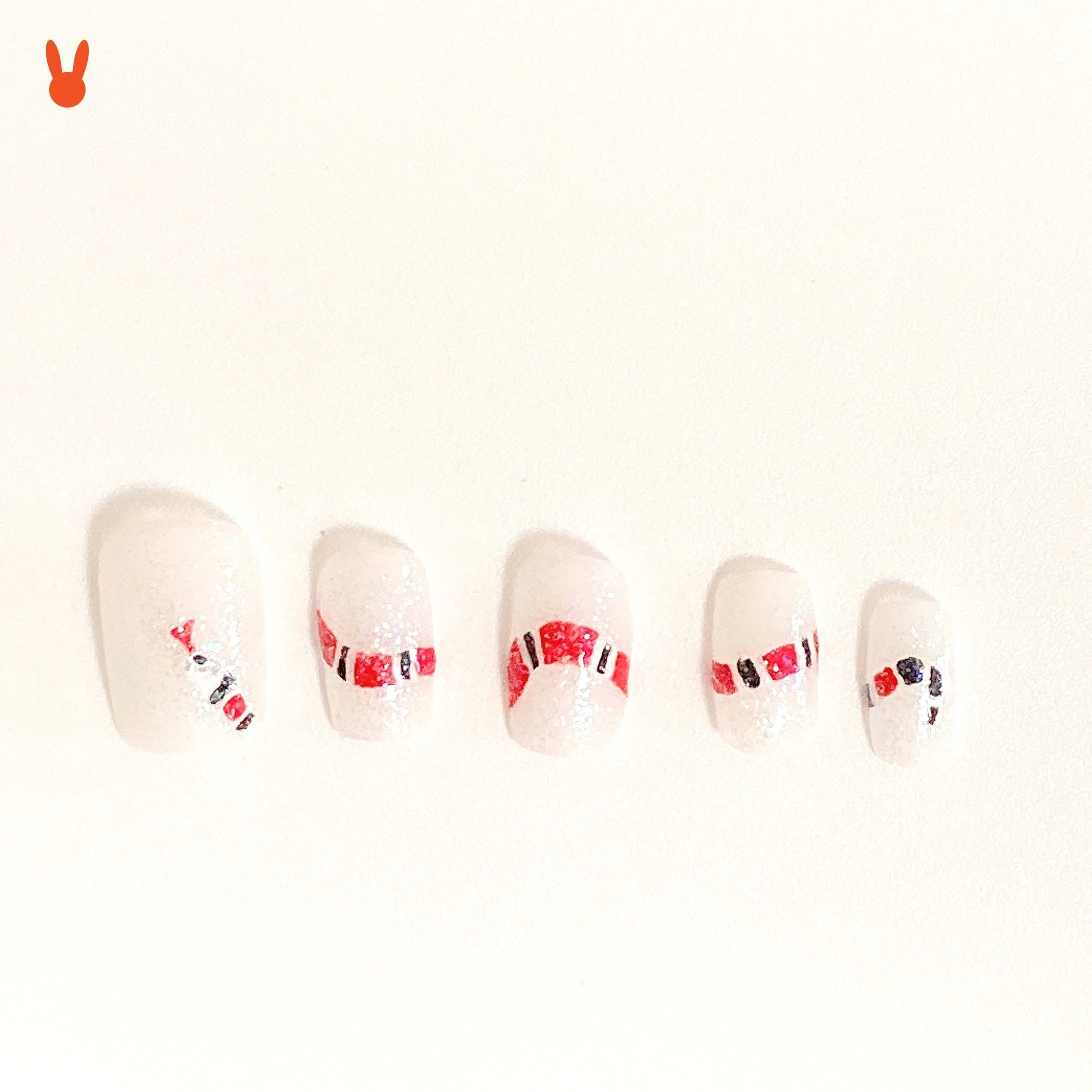 Halloween 2020 Theme Fake Hand Paint Gucci Snake Press on Nails I Halloween Theme Nails I