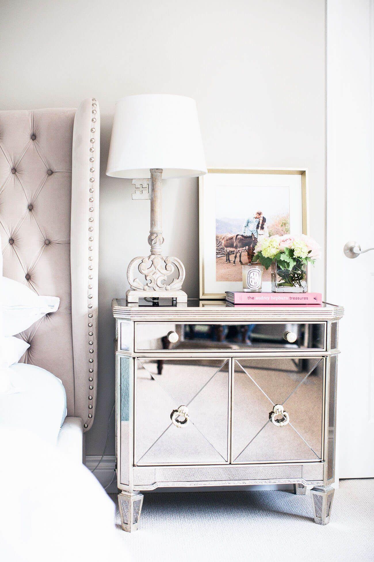 fashion blogger maria vizuete of mia mia mine featuring a z gallerie borghese  mirrored nightstand
