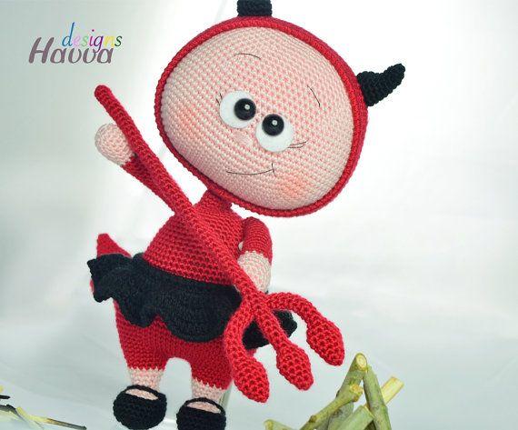 Bonnie With Devil Costume Downloadable Crochet Pattern Lėlės Nr